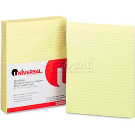 Universal® Glue Top Writing Pads, Wide Rule, Letter, Canary, 50-Sheet Pads/Pack, Dozen