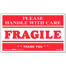 """Universal® """"Fragile Handle With Care"""" Self-Adhesive Shipping Labels, 3 x 5, 500/Roll"""