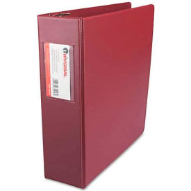 "Universal Suede Finish Vinyl Round Ring Binder With Label Holder, 3"" Capacity, Burgundy"