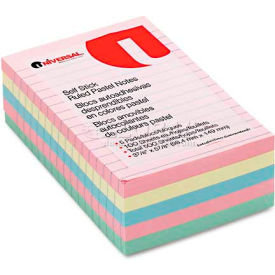Universal One® Self-Stick Notes, 4 x 6, Lined, 4 Pastel Colors, 5 100-Sheet Pads/Pack