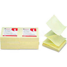 Universal One® Fan-Folded Pop-Up Notes, 3 x 3, Yellow, 12 100-Sheet Pads/Pack
