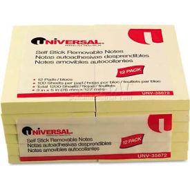 Universal® Standard Self-Stick Notes, 3 x 5, Yellow, 12 100-Sheet Pads/Pack