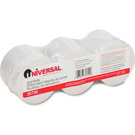 "Universal® Adding Machine/Calculator Roll, 16 lb, 1/2"" Core, 2-1/4"" x 150 ft, White, 3/Pack"