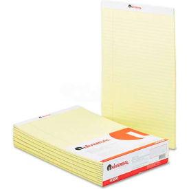Universal® Perforated Edge Writing Pad, Legal/Margin Rule, Legal, Canary, 50-Sheet, Dozen