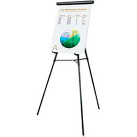 "Universal® 3-Leg Telescoping Easel with Pad Retainer, Adjusts 34"" to 64"", Aluminum, Black"