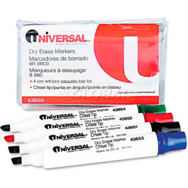 Universal Dry Erase Markers, Chisel Tip, Assorted, 4/Set