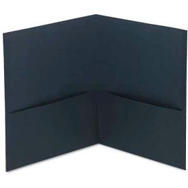 Universal Two-Pocket Portfolio, Embossed Leather Grain Paper, Dark Blue, 25/Box