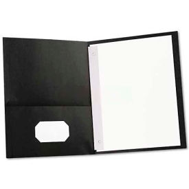 Universal Two-Pocket Portfolios w/Tang Fasteners, 11 x 8-1/2, Black, 25/Box
