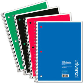 Universal® Wirebound Notebook, 8 x 10-1/2, Wide Ruled, 100 Sheets, Assorted Color Cover