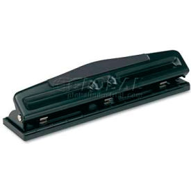 """Universal 12-Sheet Deluxe Two- and Three-Hole Adjustable Punch, 9/32"""" Holes, Black"""