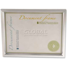 Universal Plastic Document Frame, for 8 1/2 x 11, Easel Back, Metallic Silver