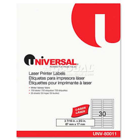 "Universal® Laser Printer File Folder Labels, 3-7/16"" x 2/3"", White, 750/Box"