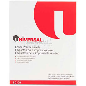 Universal® Laser Printer Permanent Labels, 3-1/3 x 4, White, 600 Labels