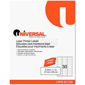 Universal One® Laser Printer Permanent Labels, 1 x 2-5/8, Clear, 1500 Labels