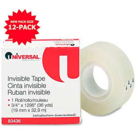 """Universal Invisible Tape, 3/4"""" x 1296"""", 1"""" Core, Clear"""