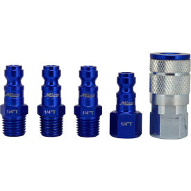 Milton S-305TKIT, ColorFit Blue Coupler and Plug Kit, Automotive T Style, 5 Pieces