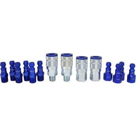 Milton S-314TKIT, ColorFit Blue Coupler and Plug Kit, Automotive T Style, 14 Pieces