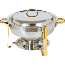 Update International Gold Accented Round Chafer, 4Qt, DC-4/GB by