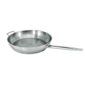 "12"" Natural Finish Stainless Steel Fry Pan - 2"" Deep - Pkg Qty 4"