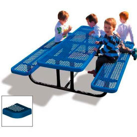 6' Rectangular Child's Picnic Table, Perforated Metal, Blue