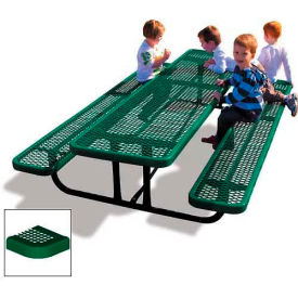 8' Rectangular Child's Picnic Table, Perforated Metal, Green