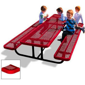 8' Rectangular Child's Picnic Table, Perforated Metal, Red