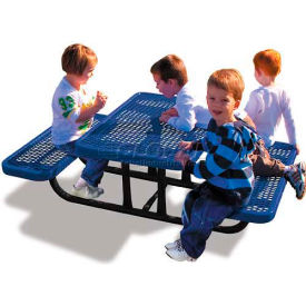 4' Rectangular Child's Picnic Table, Expanded Metal, Blue