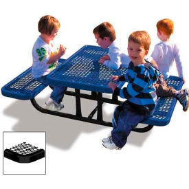 4' Rectangular Child's Picnic Table, Expanded Metal, Black