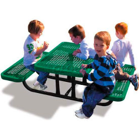 4' Rectangular Child's Picnic Table, Expanded Metal, Green