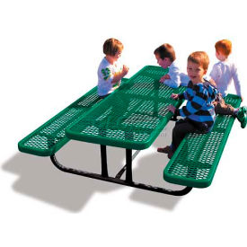 6' Rectangular Child's Picnic Table, Expanded Metal, Green