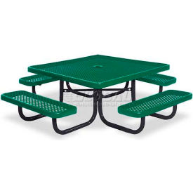 "46"" Square Child's Picnic Table, Portable, Perforated Metal, Green"