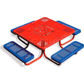 "46"" Child's Picnic Table, Perforated Metal, Red Table Top w/ Blue Seats by"