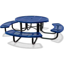 "46"" Round Child's Picnic Table, Portable, Perforated Metal, Blue"