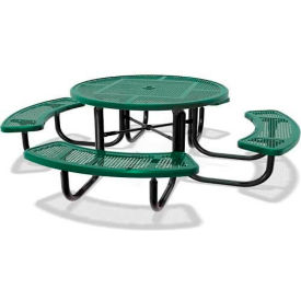 """46"""" Round Child's Picnic Table, Portable, Perforated Metal, Green"""