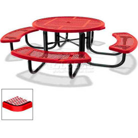 "46"" Round Child's Picnic Table, Portable, Perforated Metal, Red"