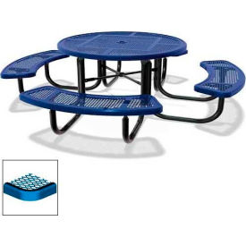 """46"""" Round Child's Picnic Table, Portable, Expanded Metal, Blue"""