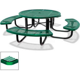 """46"""" Round Child's Picnic Table, Portable, Expanded Metal, Green"""