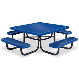 """46"""" Square Child's Picnic Table, Portable, Expanded Metal, Blue"""