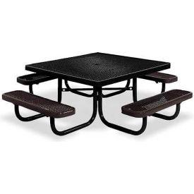 "46"" Square Child's Picnic Table, Portable, Expanded Metal, Black"