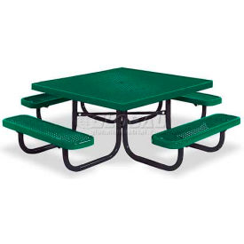 """46"""" Square Child's Picnic Table, Portable, Expanded Metal, Green"""