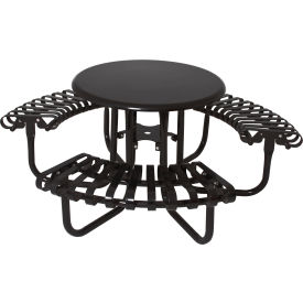 """UltraPlay 46"""" Kensington Round Picnic Table, Solid Top w/ 3 Slatted Seats, Black"""