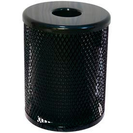 32 Gallon Thermoplastic Coated Diamond Pattern Trash Receptacle - Black