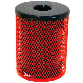 32 Gallon Thermoplastic Coated Diamond Pattern Trash Receptacle - Red