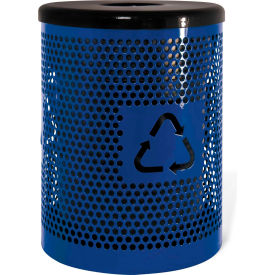 UltraPlay 32 Gallon Recycling Logo Trash Receptacle Expanded, Blue - EX-32RE-BLU