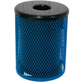 55 Gallon Thermoplastic Coated Diamond Pattern Trash Receptacle - Blue