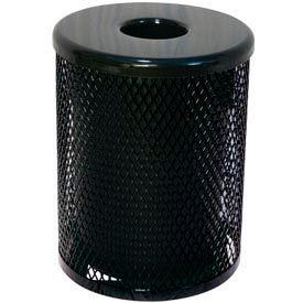55 Gallon Thermoplastic Coated Diamond Pattern Trash Receptacle - Black