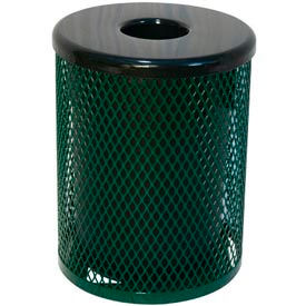 55 Gallon Thermoplastic Coated Diamond Pattern Trash Receptacle - Green