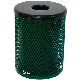 55 Gallon Thermoplastic Coated Diamond Pattern Trash Receptacle - Green