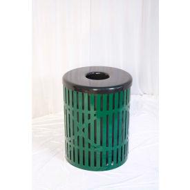 UltraPlay 32 Gallon Fiesta Trash Receptacle, Green - FB-32-GRN
