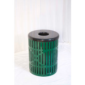 UltraPlay 55 Gallon Fiesta Trash Receptacle, Green - FB-55-GRN